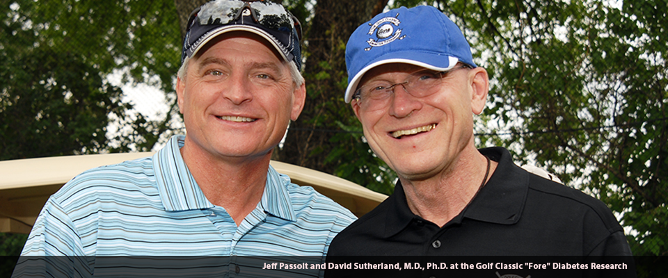 """Jeff Passolt and David Sutherland, M.D., Ph.D. at the Golf Classic """"Fore"""" Diabetes Research"""
